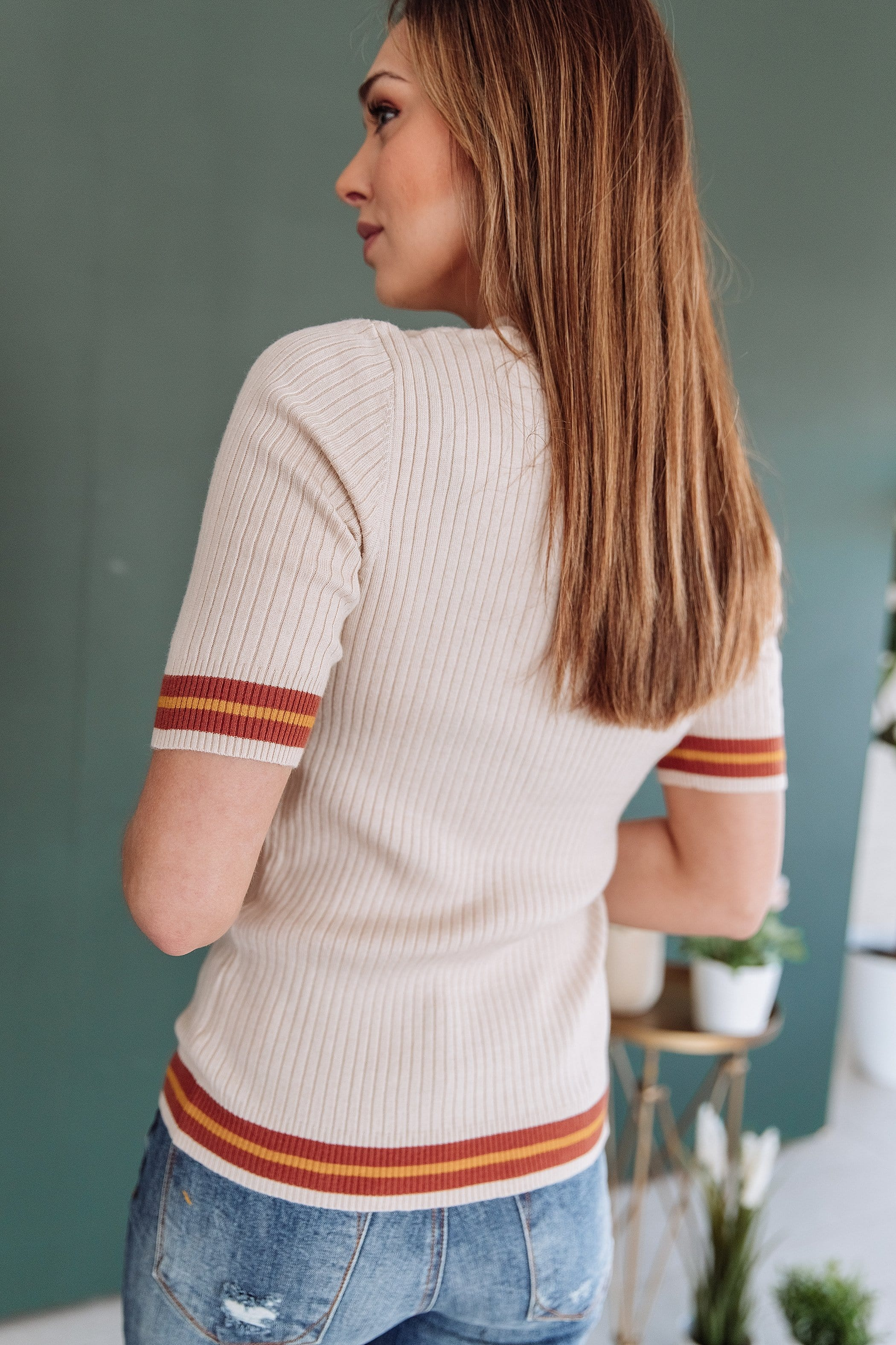 The Lorena Striped Top in Ivory