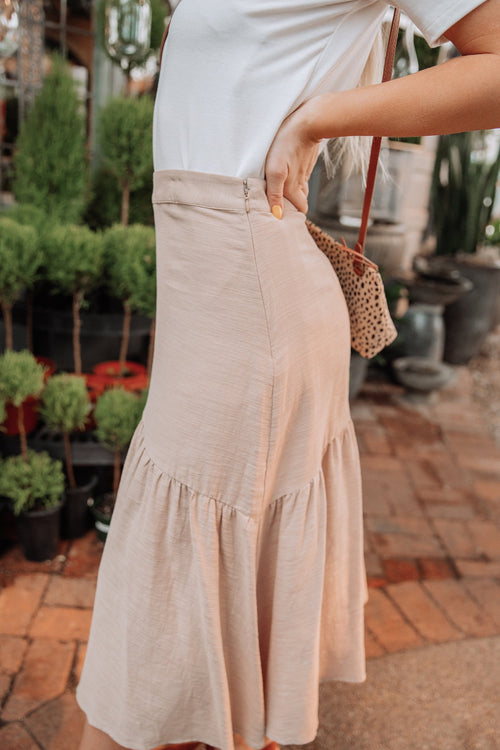 The Tacey Asymmetrical Skirt in Mocha