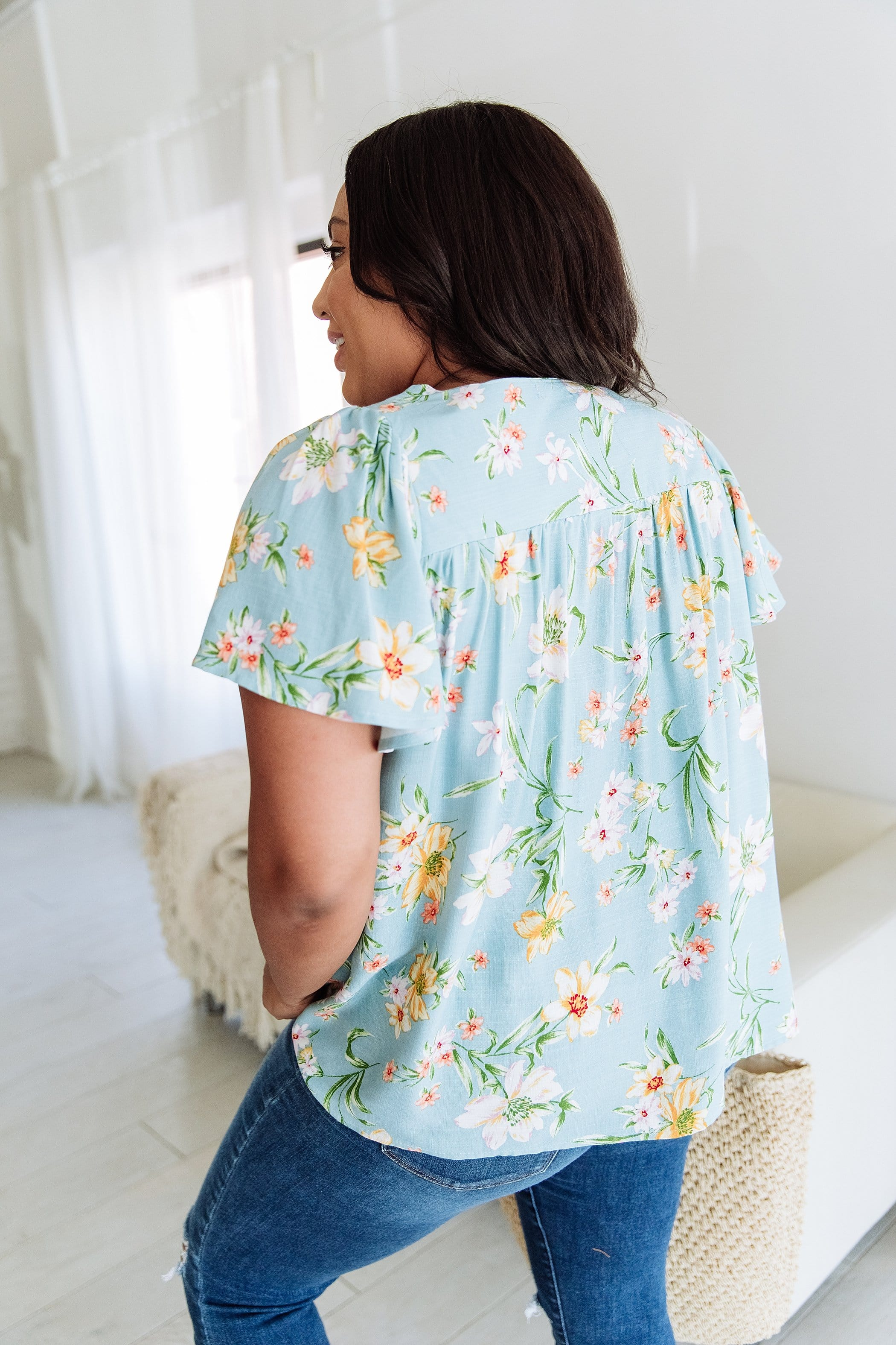 The Cressida Floral Print Top in Blue