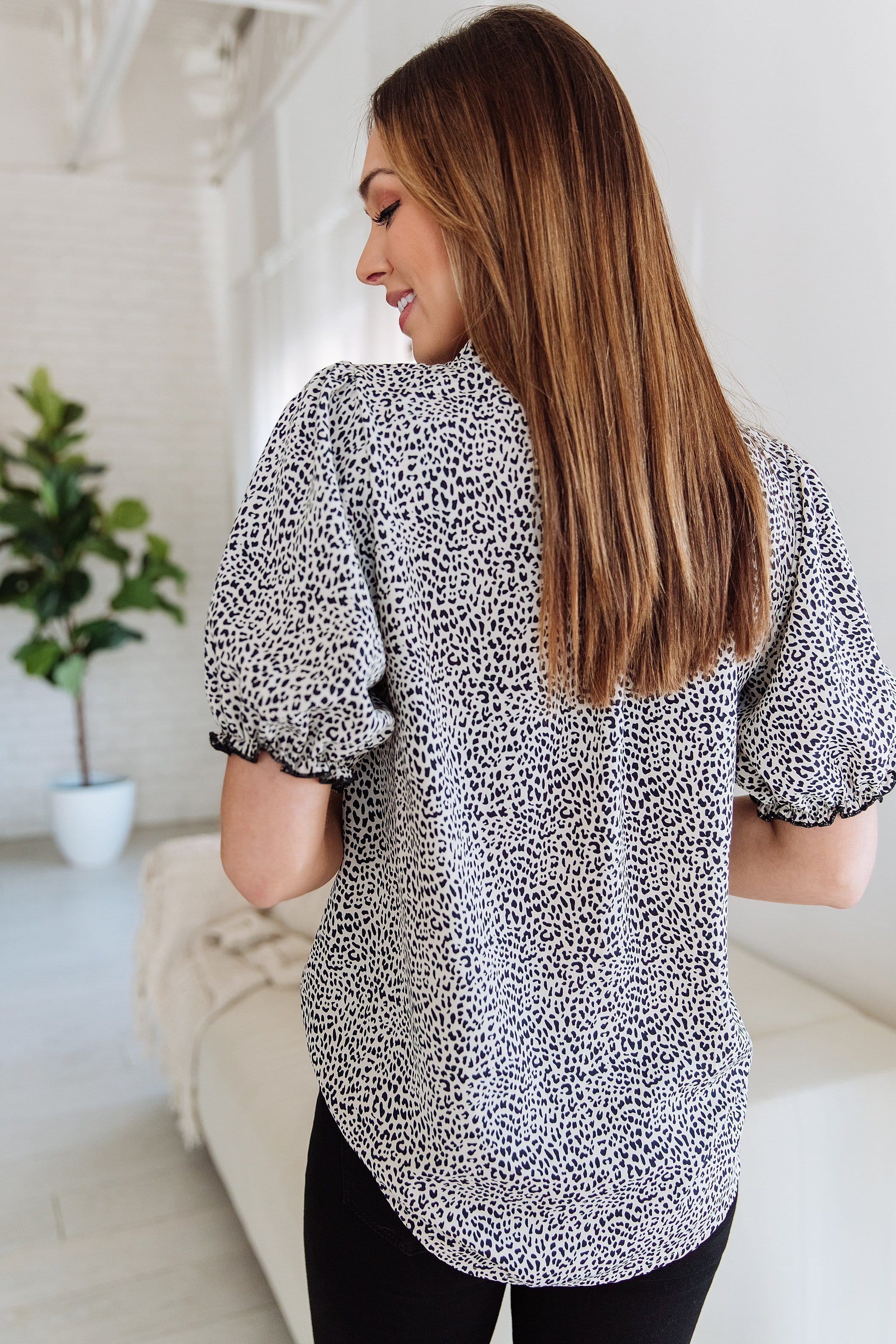 The Elena Top in Animal Print
