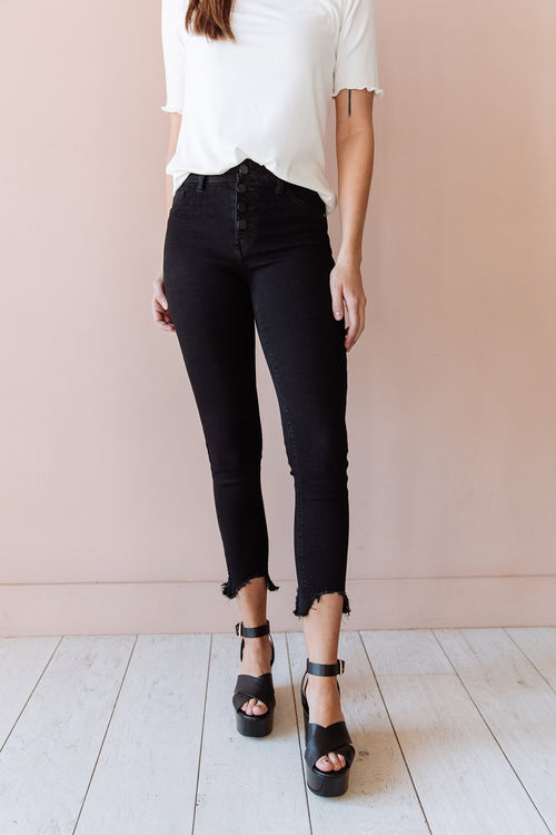 The Monroe Button Fly Jeans in Black