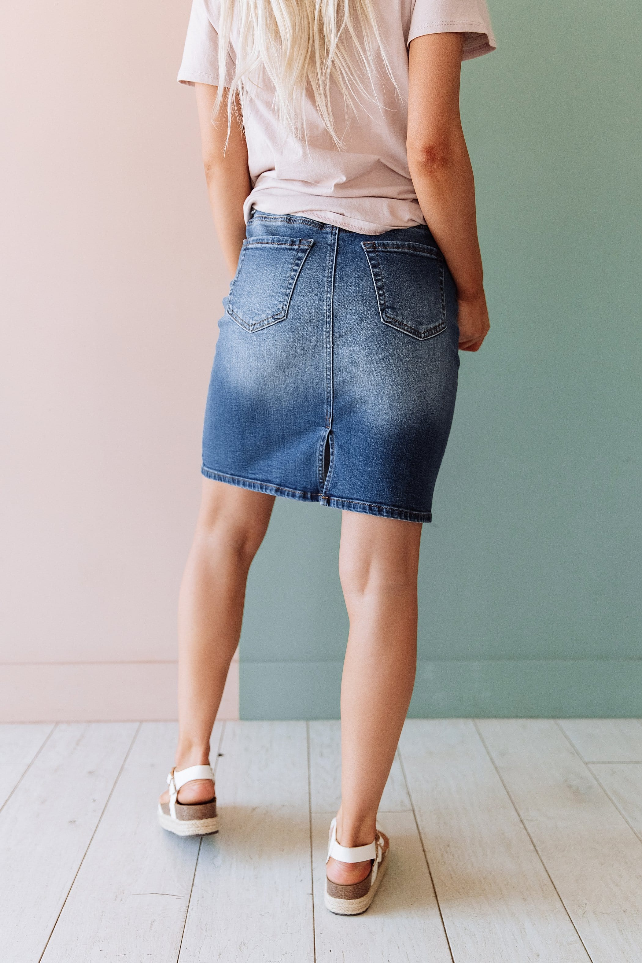 The Ellsworth High Waist Skirt in Denim