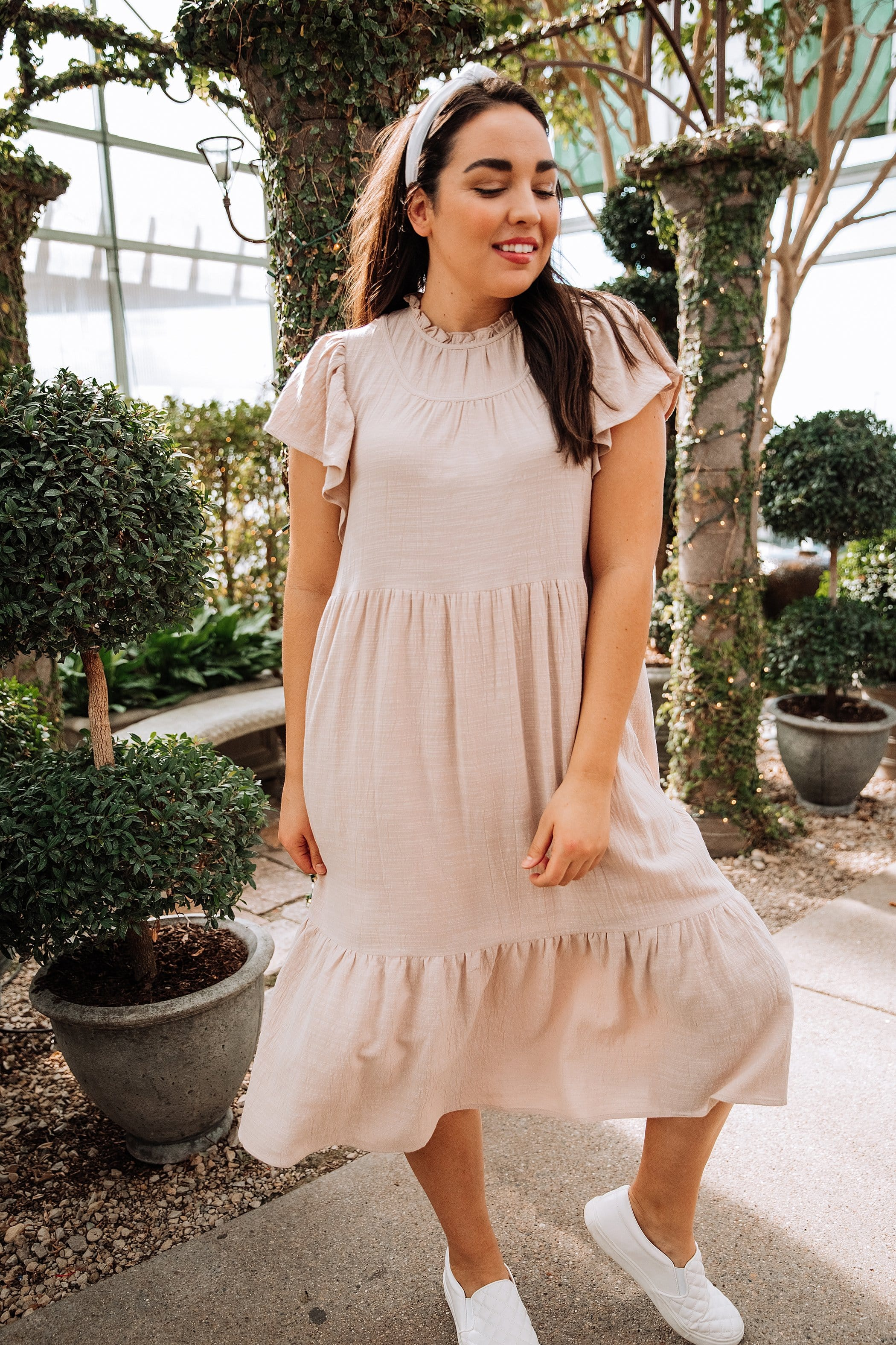 The Beckett Ruffle Dress in Natural