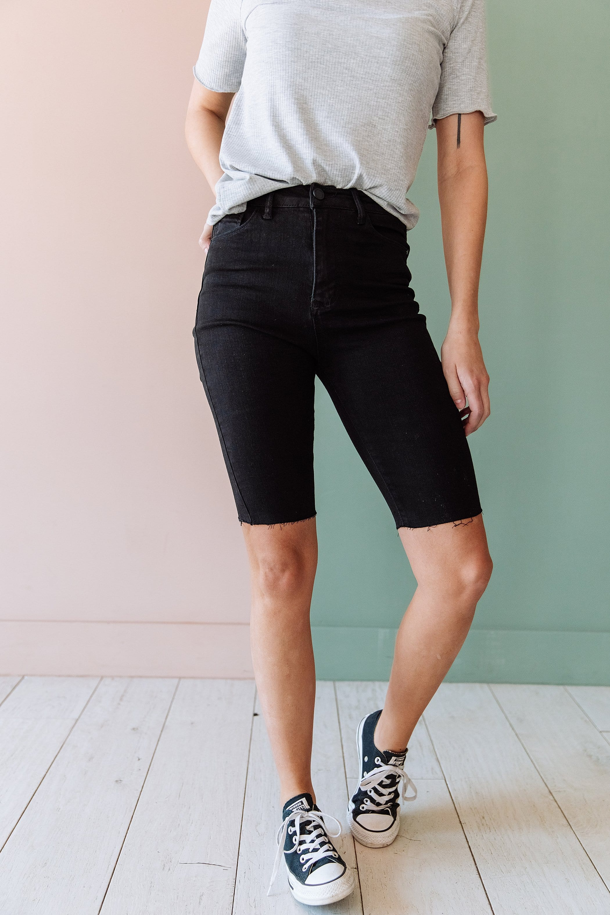 The Indy Bermuda Shorts in Black, Denim, and White