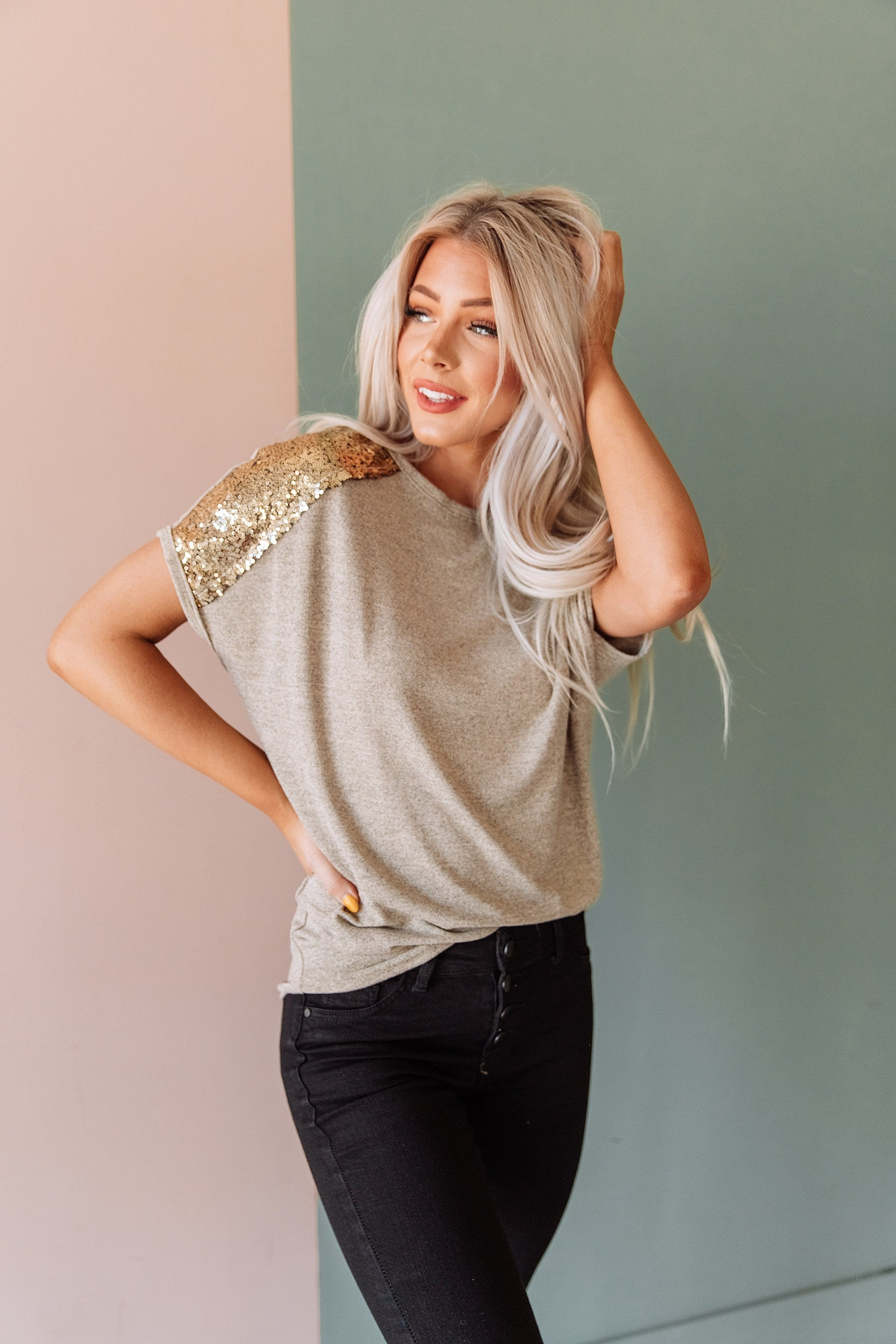 The Calliope Sequin Sleeve Top in Oatmeal