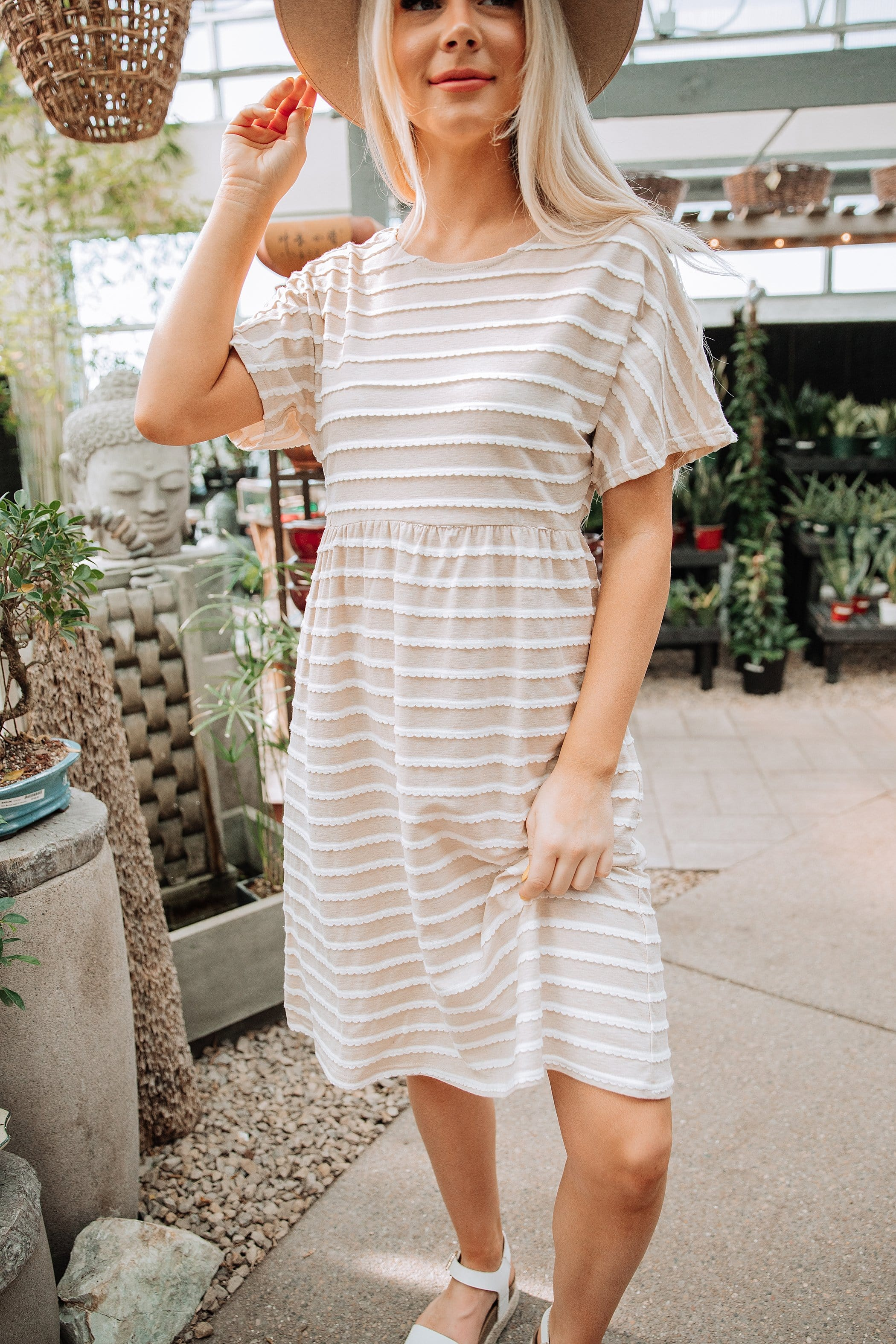 The Laine Scalloped Dress in Natural