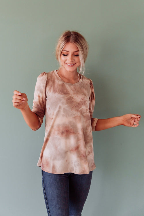 The Reyes Tie Dye Top in Mocha or Olive