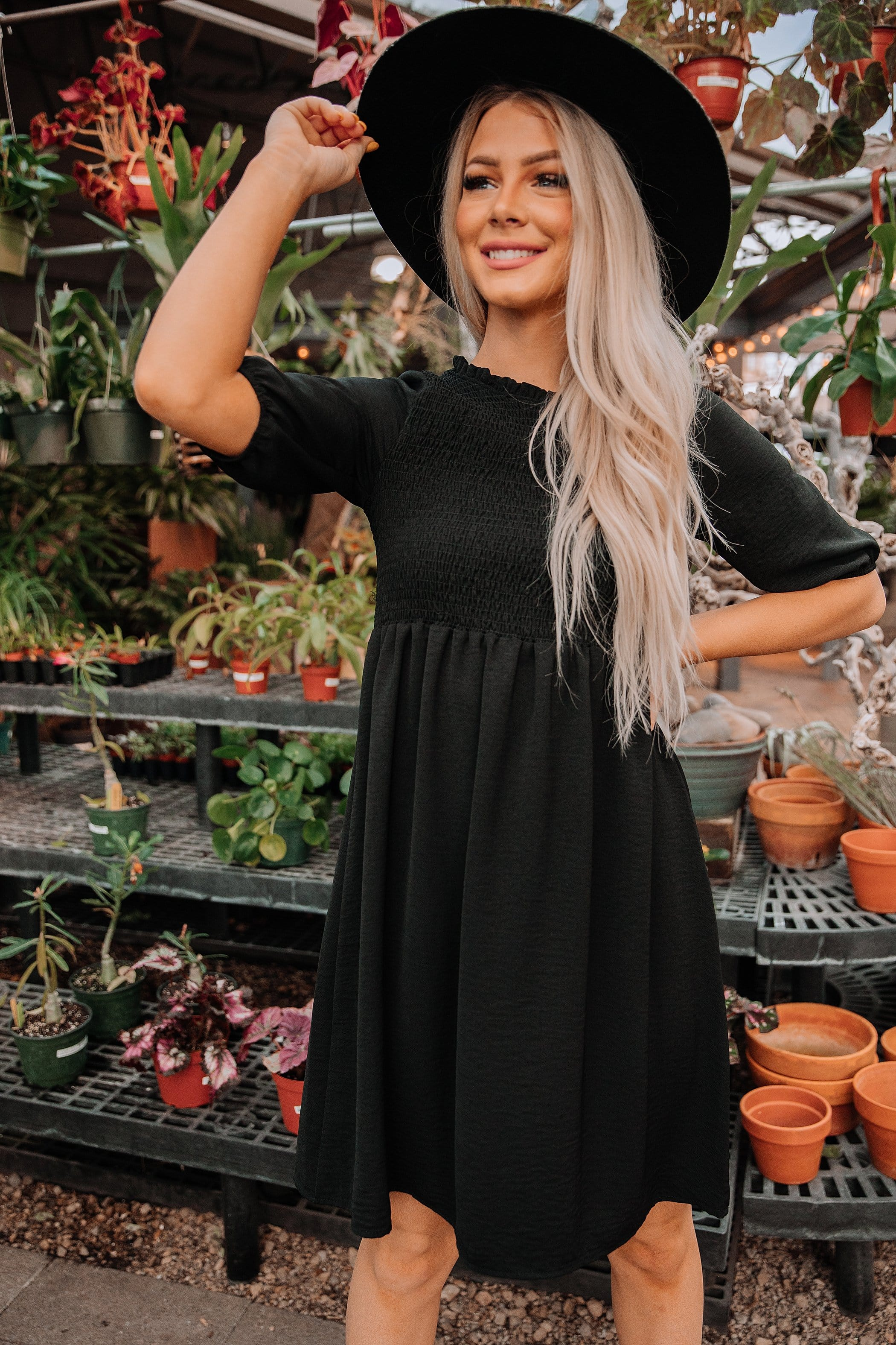 The Jaqueline Smocked Dress in Black