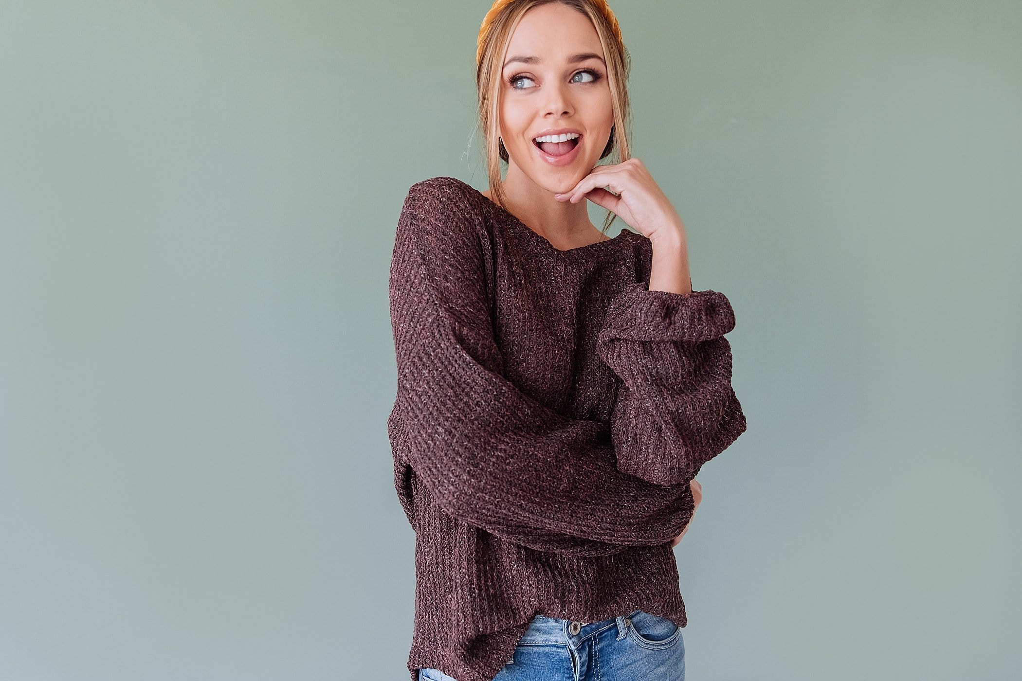 The Dallas Knit Sweater in Brown and Ivory