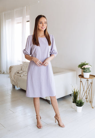 The Corey High Low Ruffle Sleeve Dress in Mauve