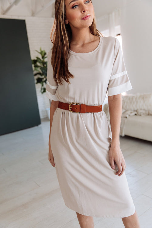 The Hallyn Stripe Sleeve Dress in Mocha