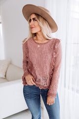 The Zaria Lace Top in Rose