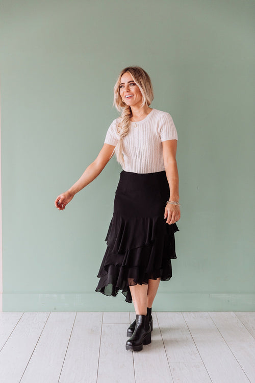 The Reese Layered Ruffle Skirt in Black