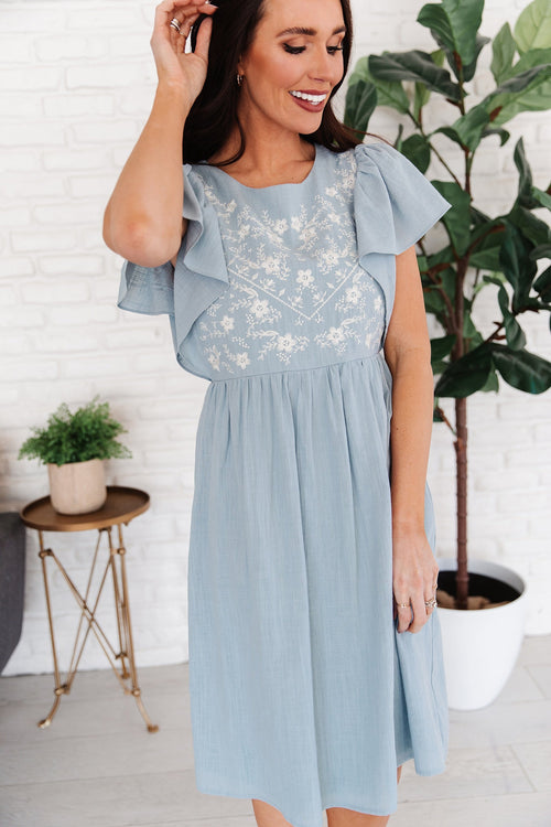 The Marion Embroidered Dress in Blue