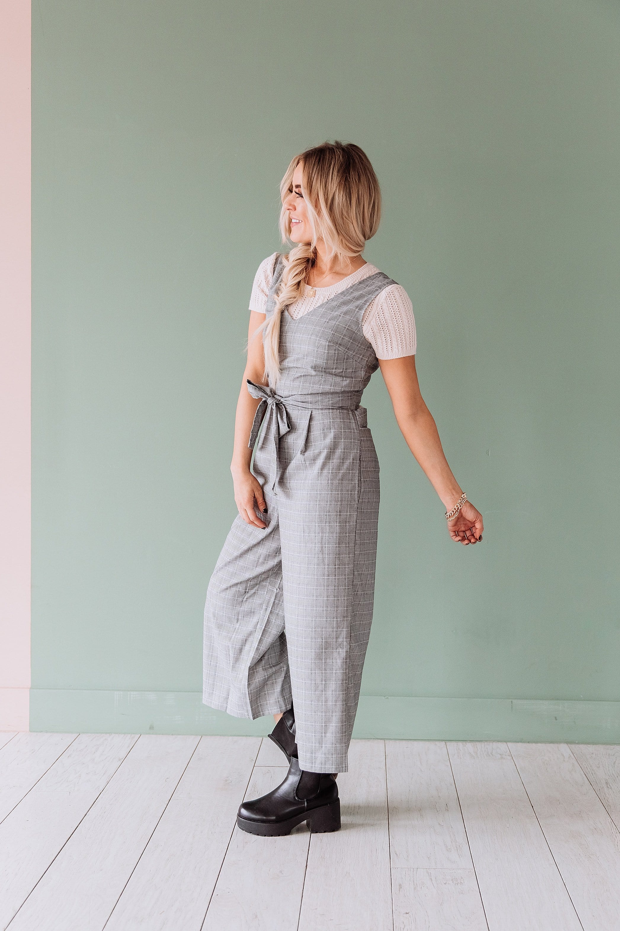 The Mason Gaucho Wrap Back Jumpsuit in Plaid