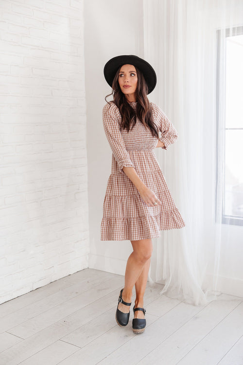 The Jeena Gingham Smocked Dress in Clay