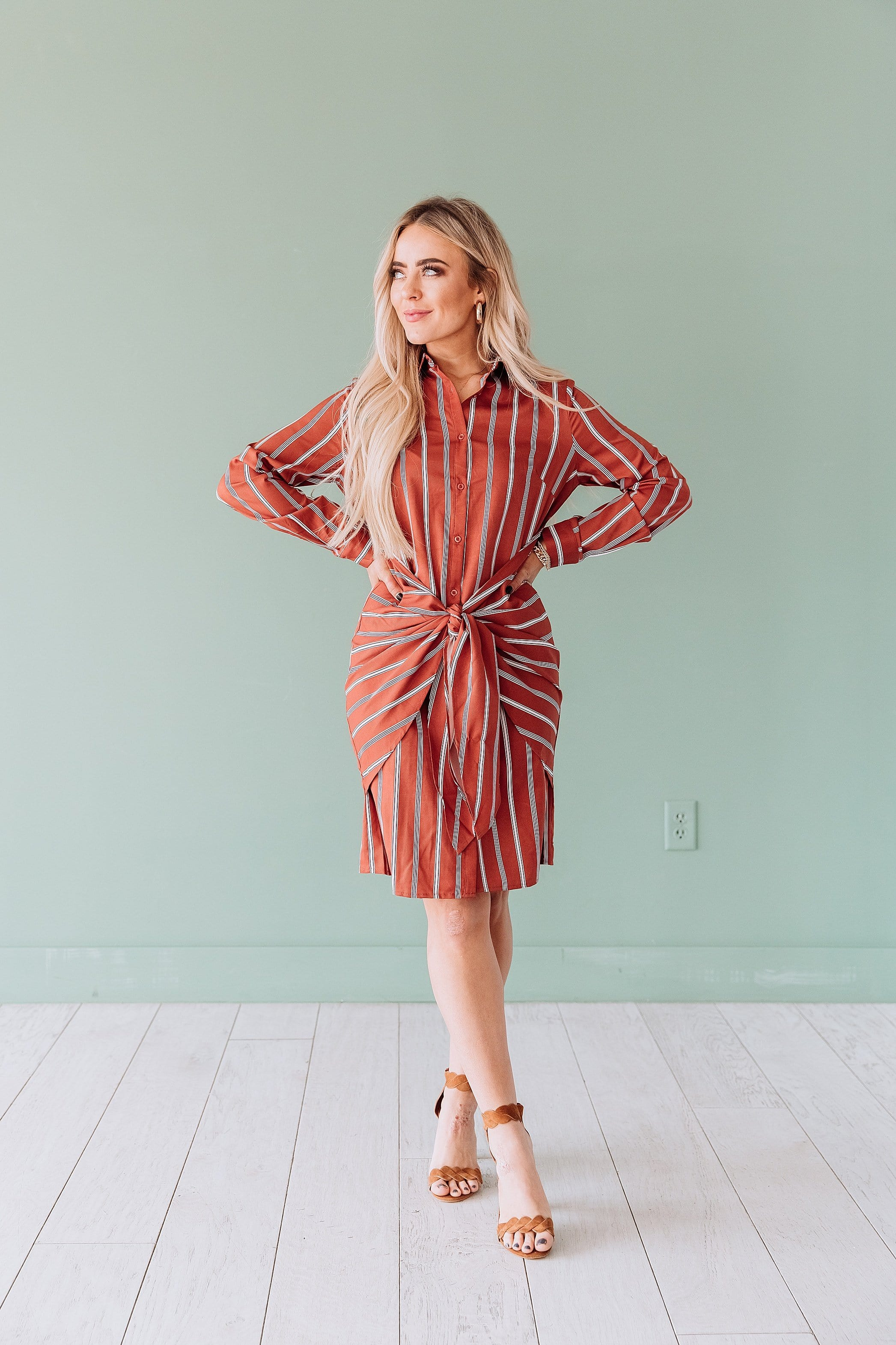 The Lennon Tie Front Dress in Rust
