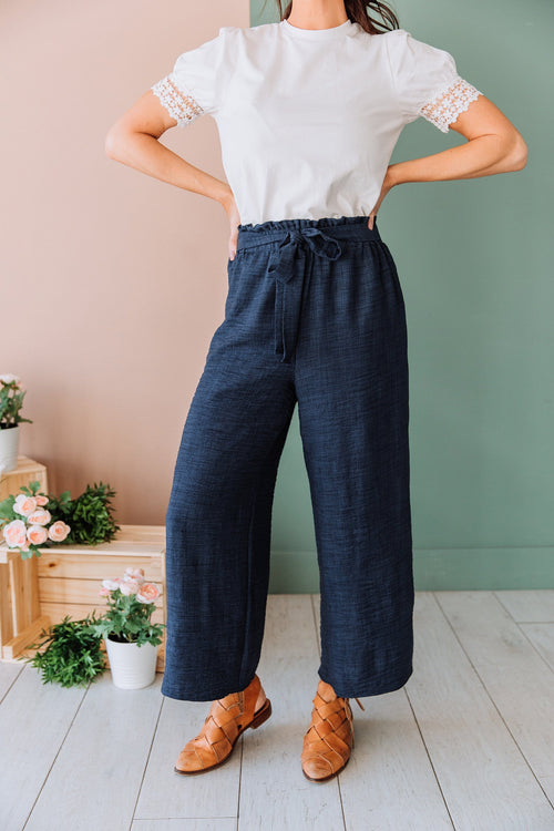The Gianna High Rise Tie Pants in Navy
