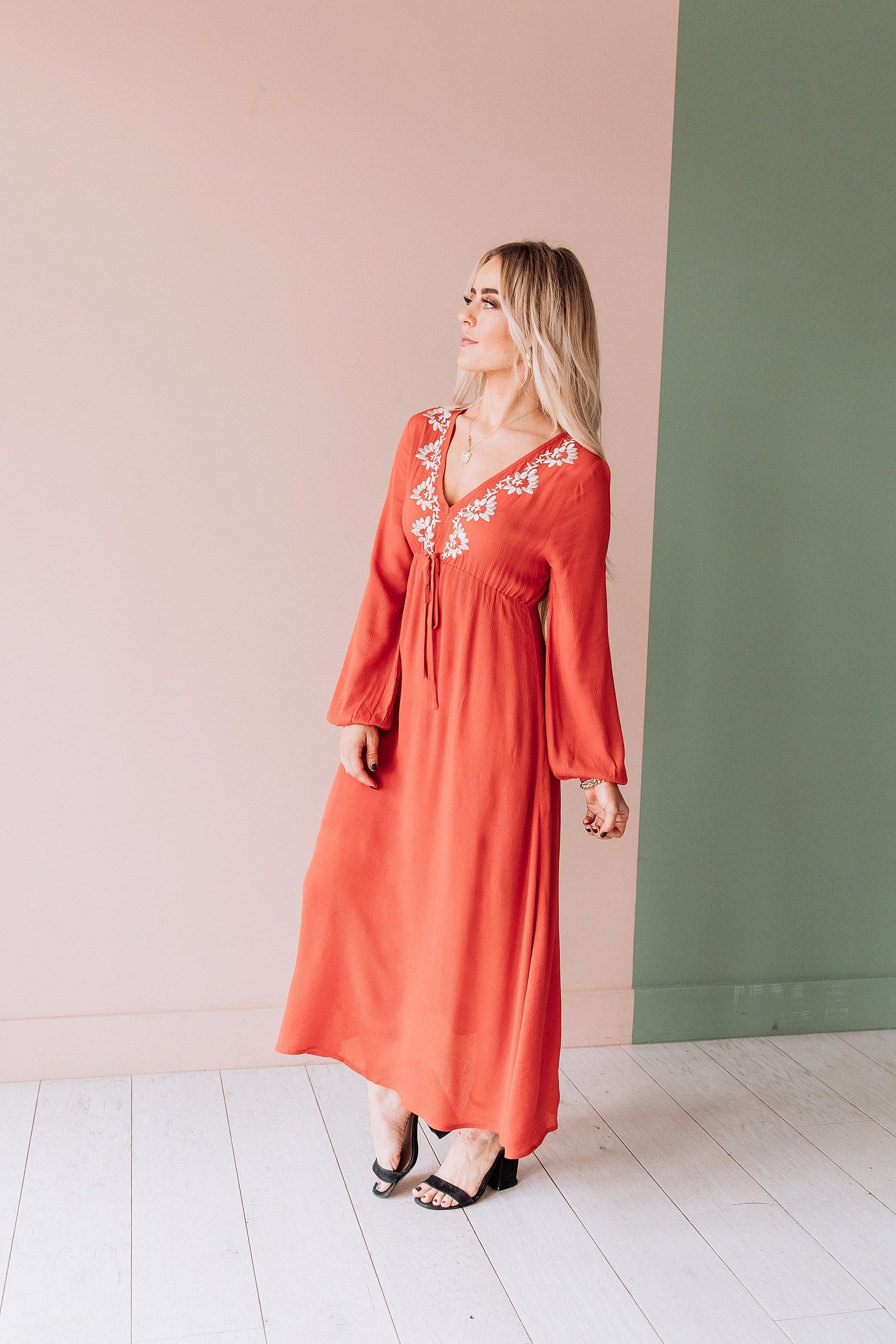 The Melbourne Empire Waist Midi Dress in Rust