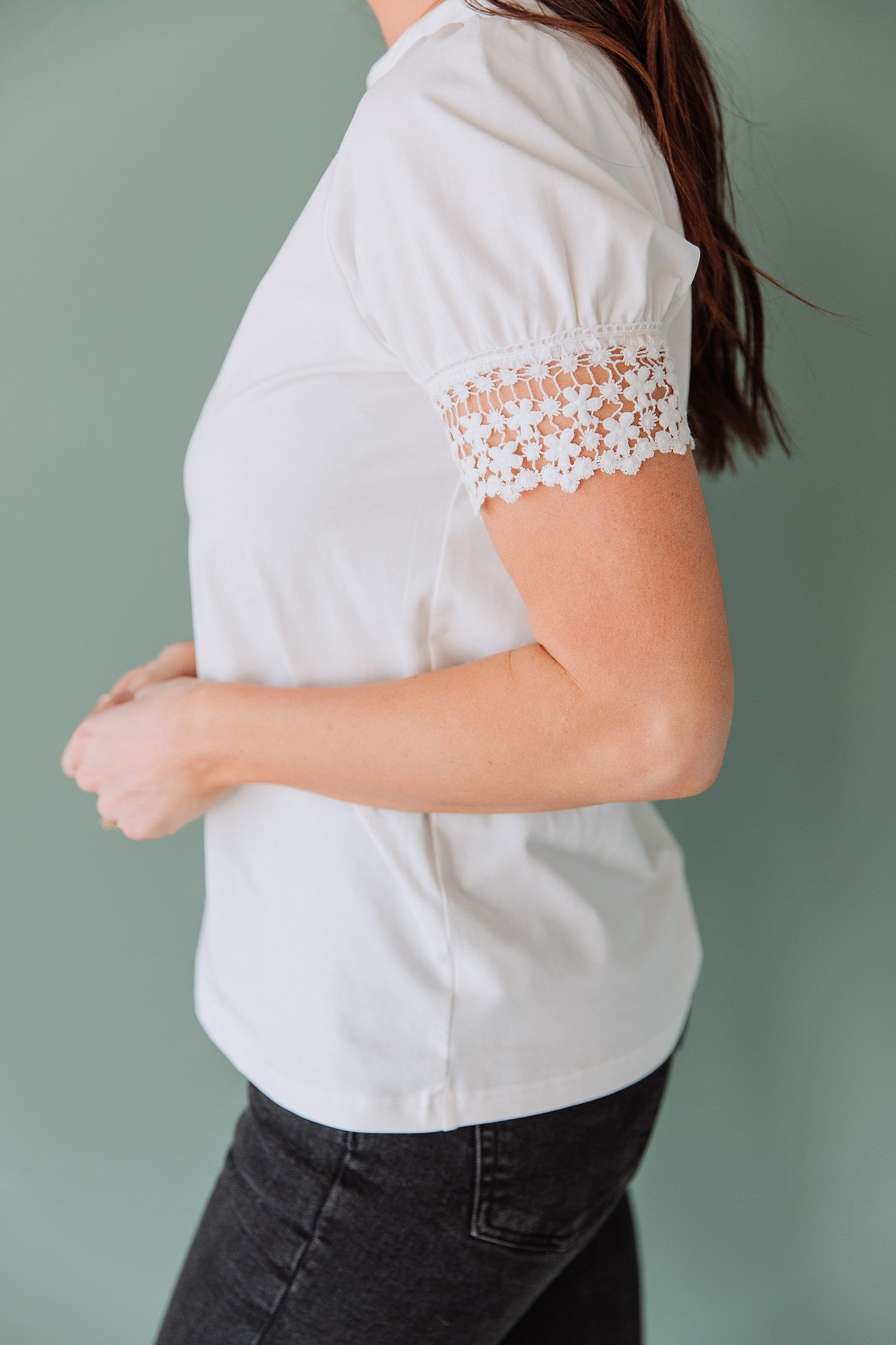 The Luma Lace Trim Top in White
