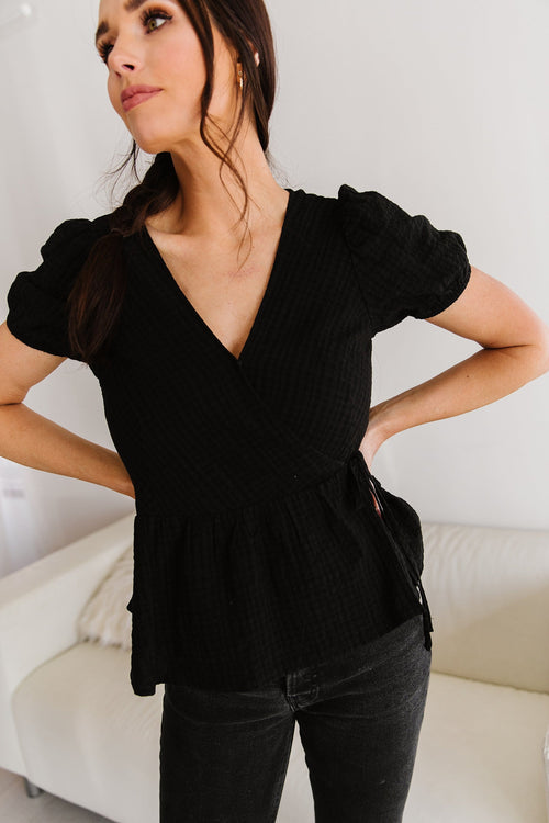 The Dolyn Textured Peplum Top in Black and White