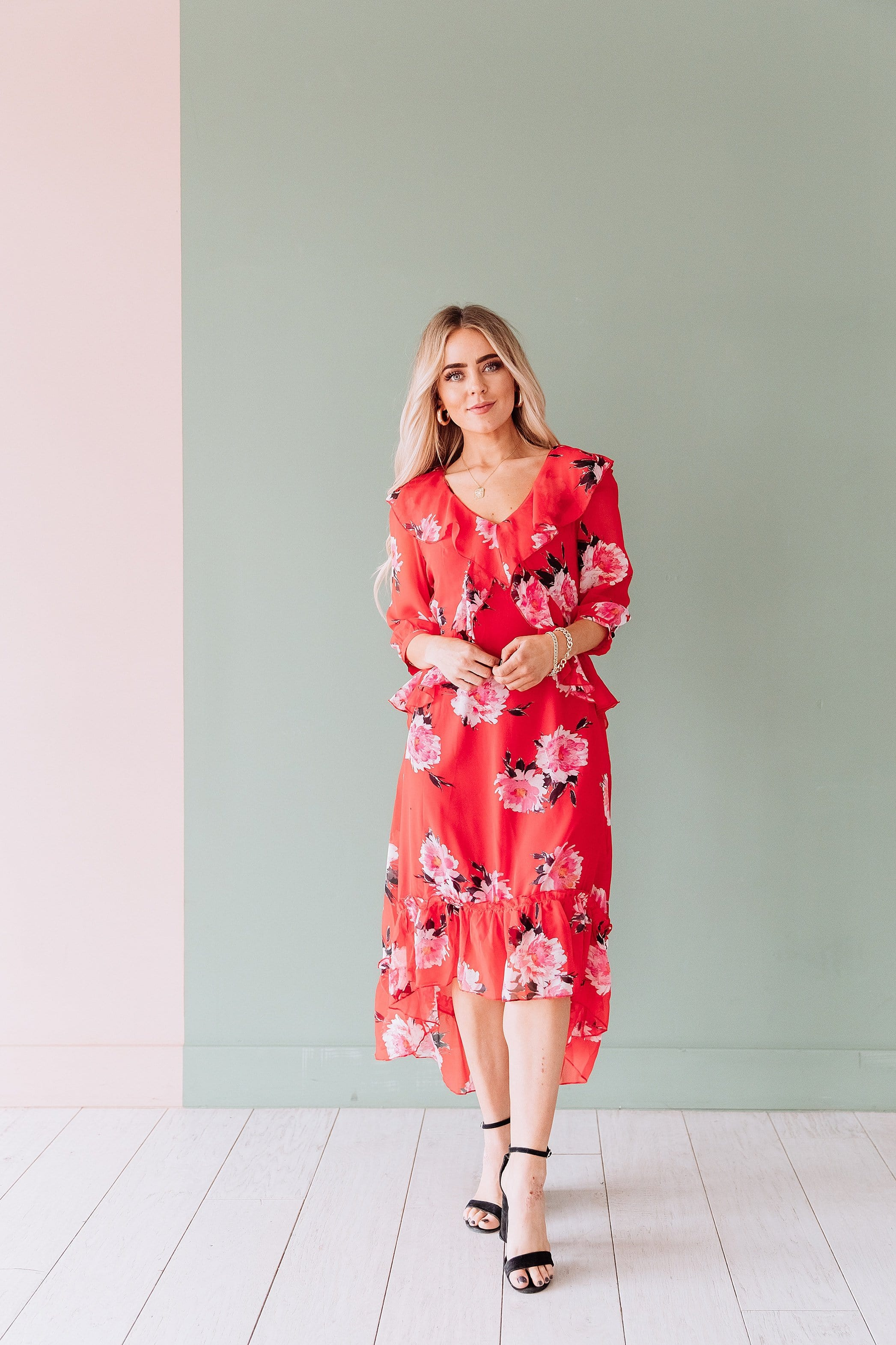 The Cecelia Midi Ruffle Dress in Red