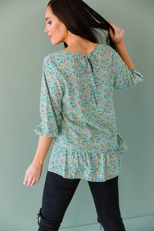 The Skye Floral Top in Mint