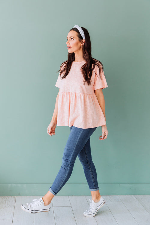 The Alaine Peplum Top in Peach
