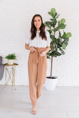 The Alessi Paperbag Waist Pants in Mocha