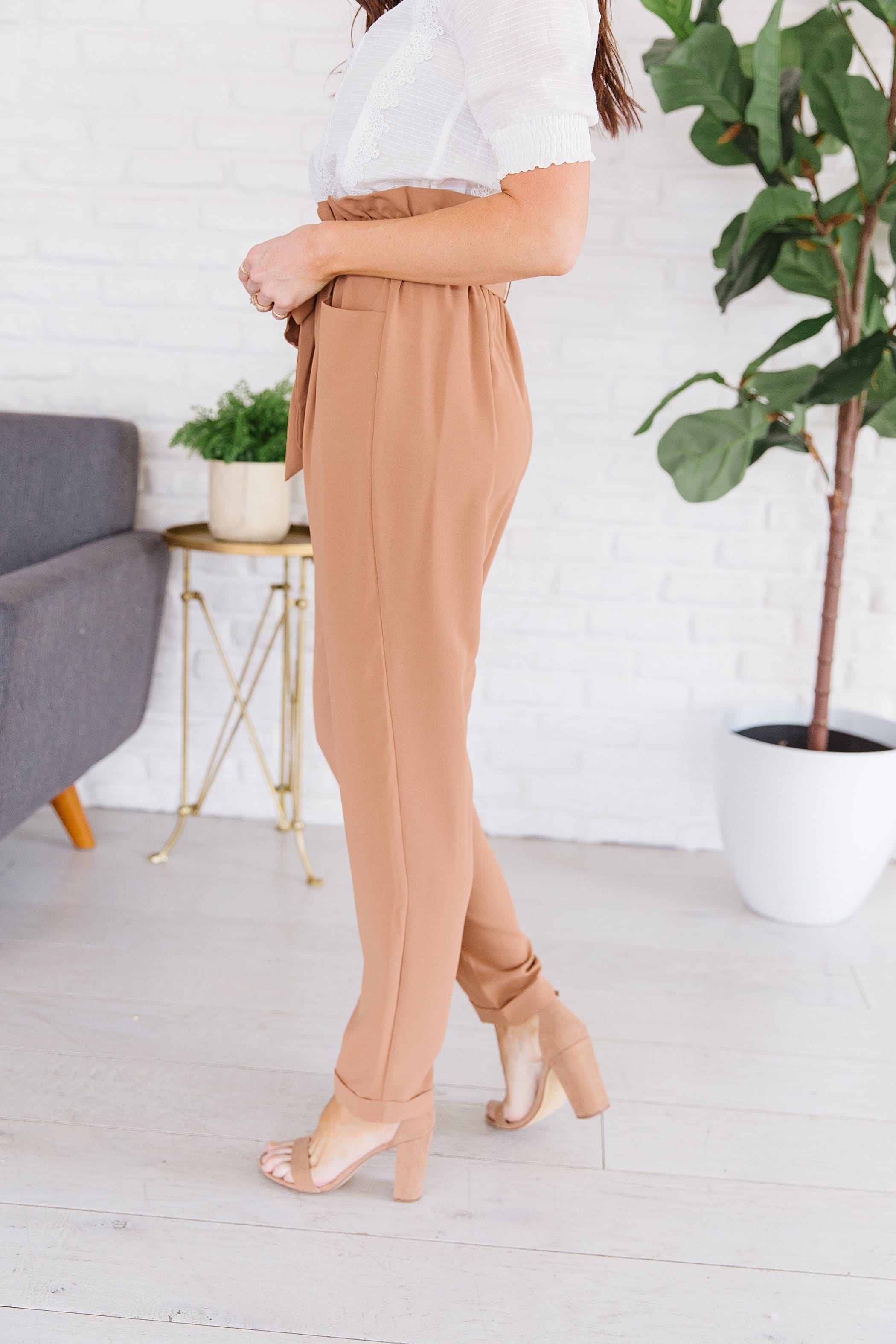 The Alessi Paperbag Waist Pants in Taupe