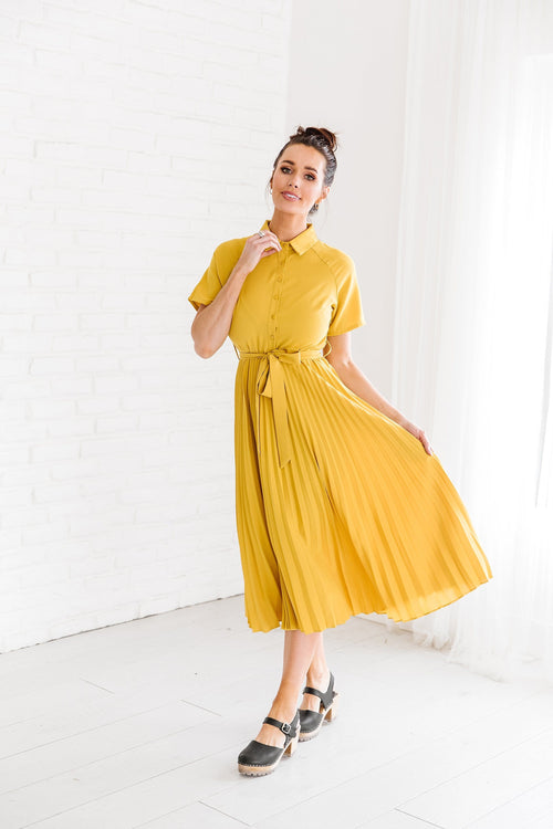 The Caprese Pleated Dress in Mustard