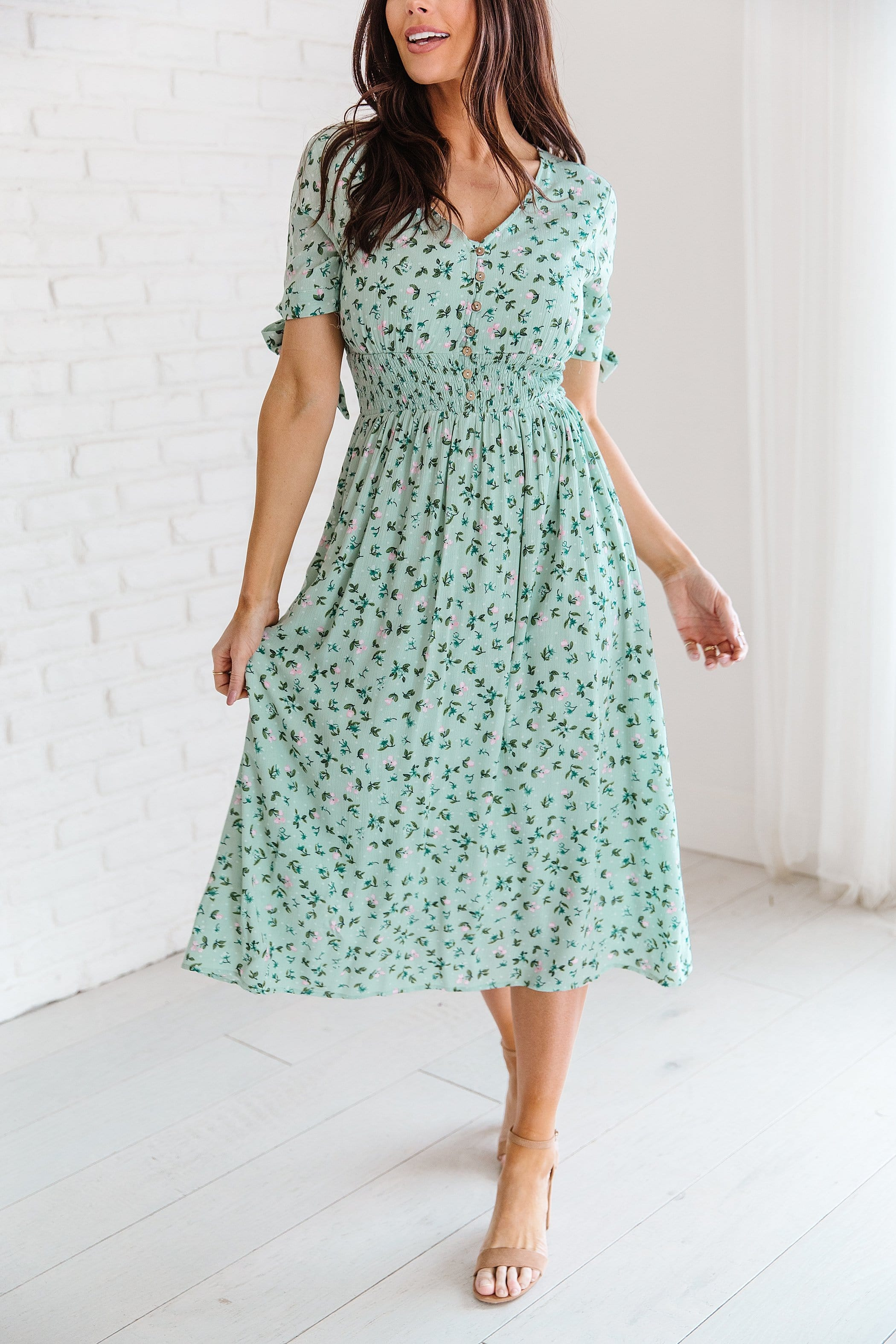 The Esther Floral Midi Dress in Mint