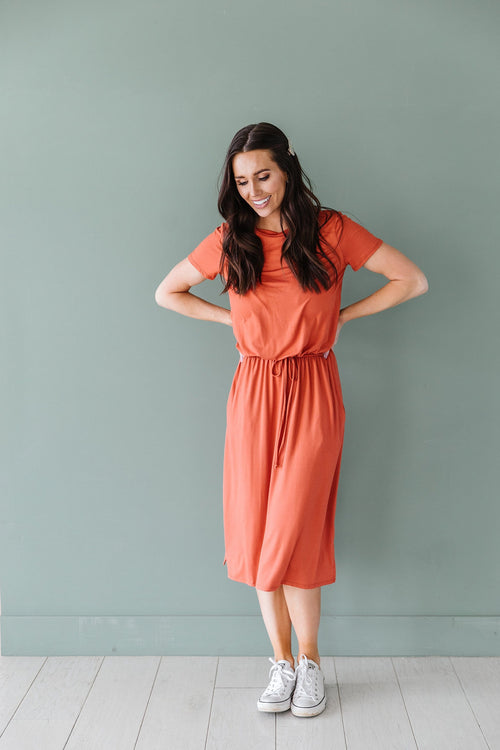 The Mattie Midi Dress in Black, Rust, and Salmon