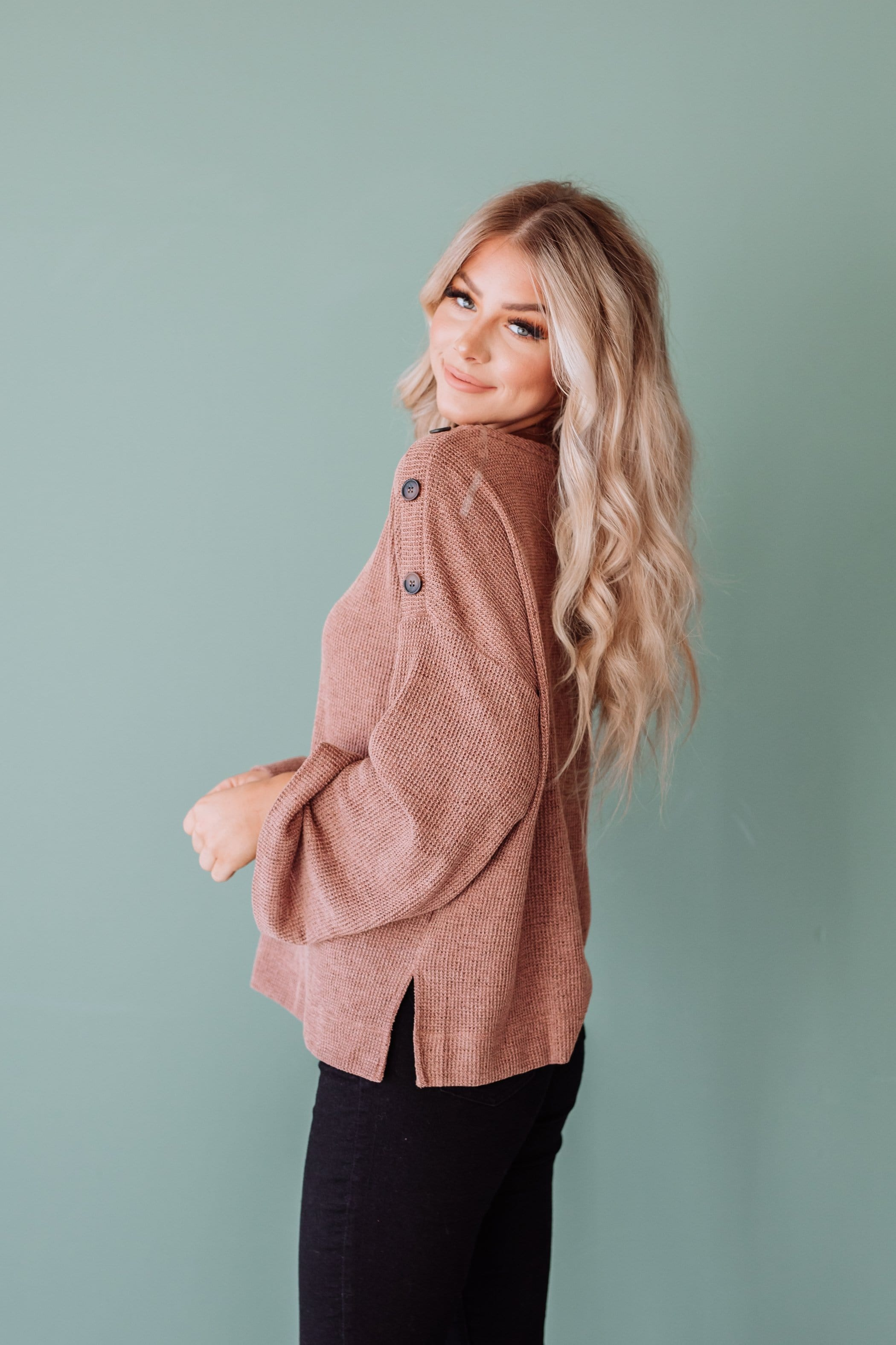 The Gardner Rib Knit Top in Brick and Olive