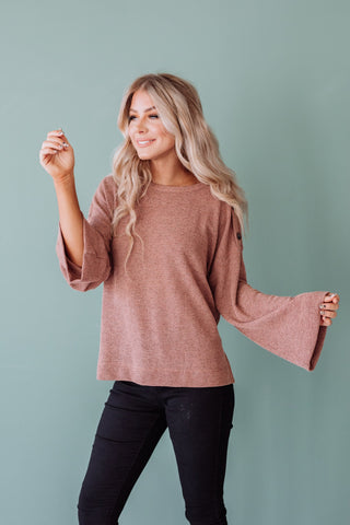 The Good Vibes Sweater in Mauve and Rust