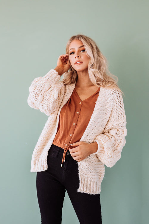 The Deming Popcorn Knit Cardigan in Off White