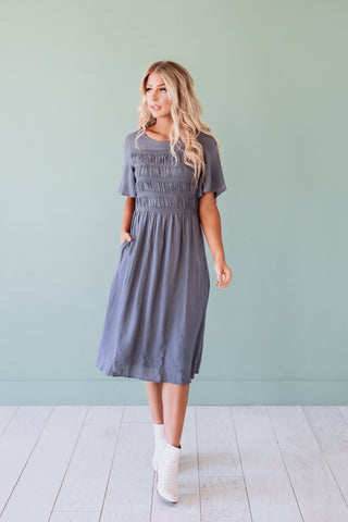 The Mandy Ruffle Maxi Dress in Vintage Blush