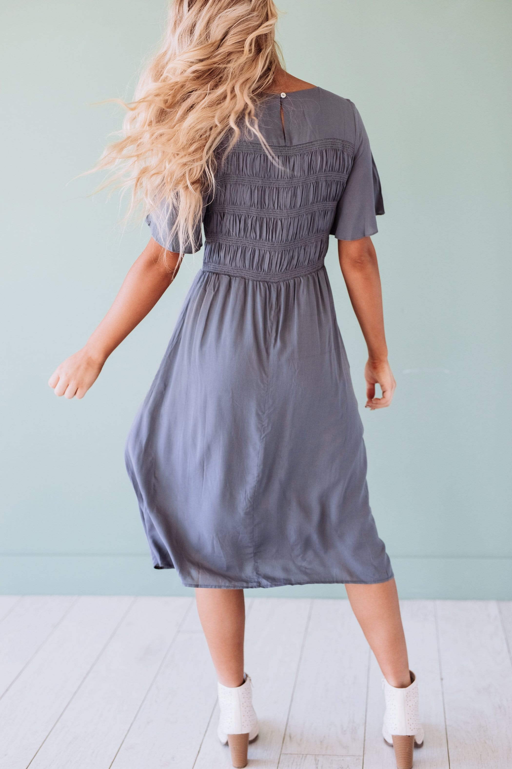 The Abbott Midi Dress in Charcoal