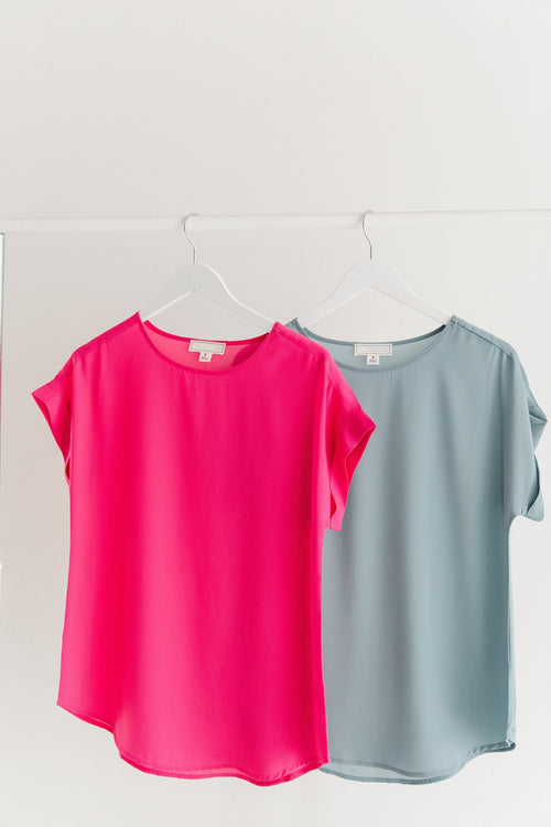The Josie Chiffon Top in Blue Grey and Fuchsia