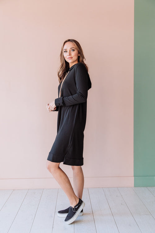 The Lilah Hooded Dress in Black