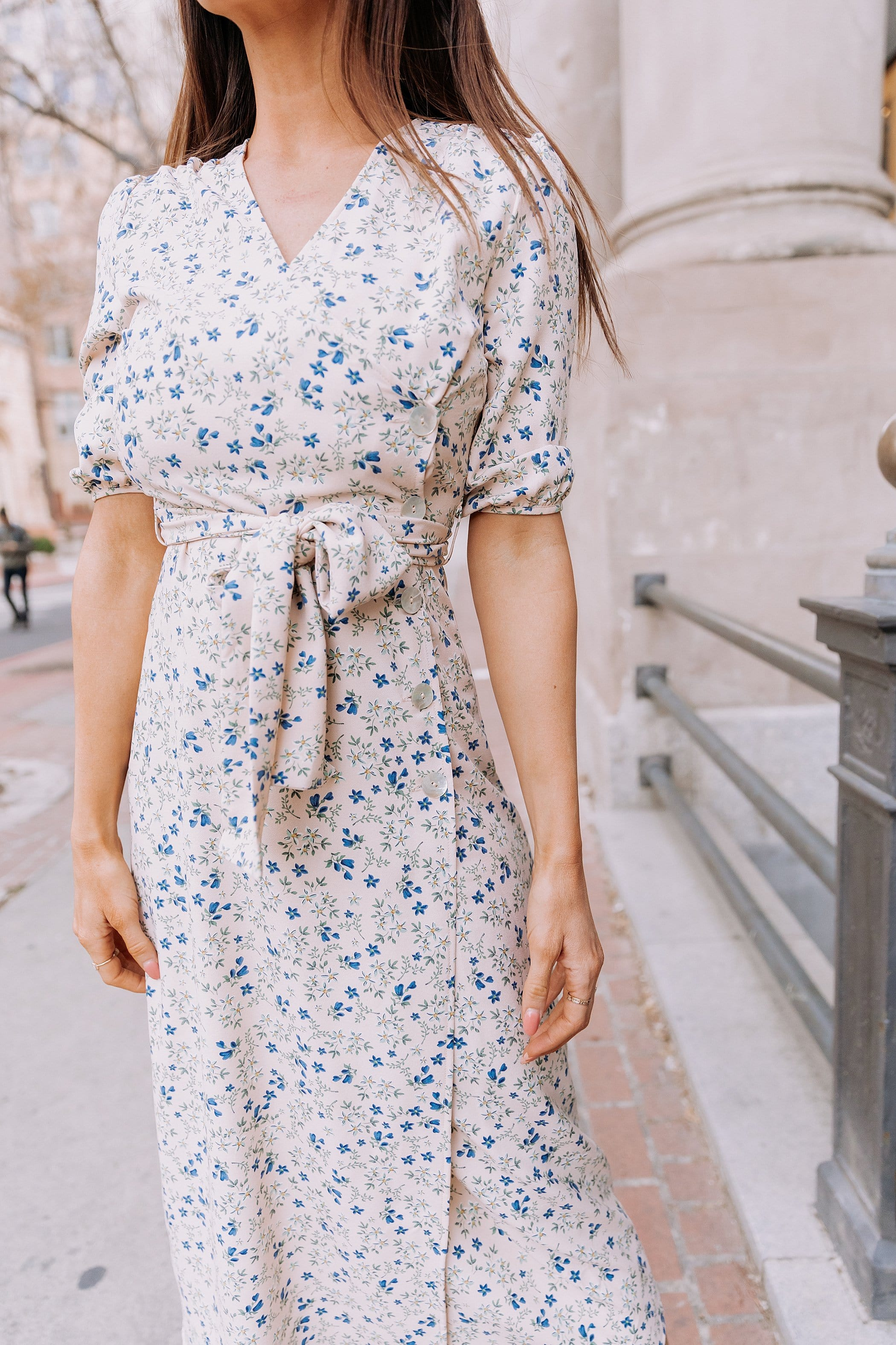 The Macae Floral Midi Dress in Peach