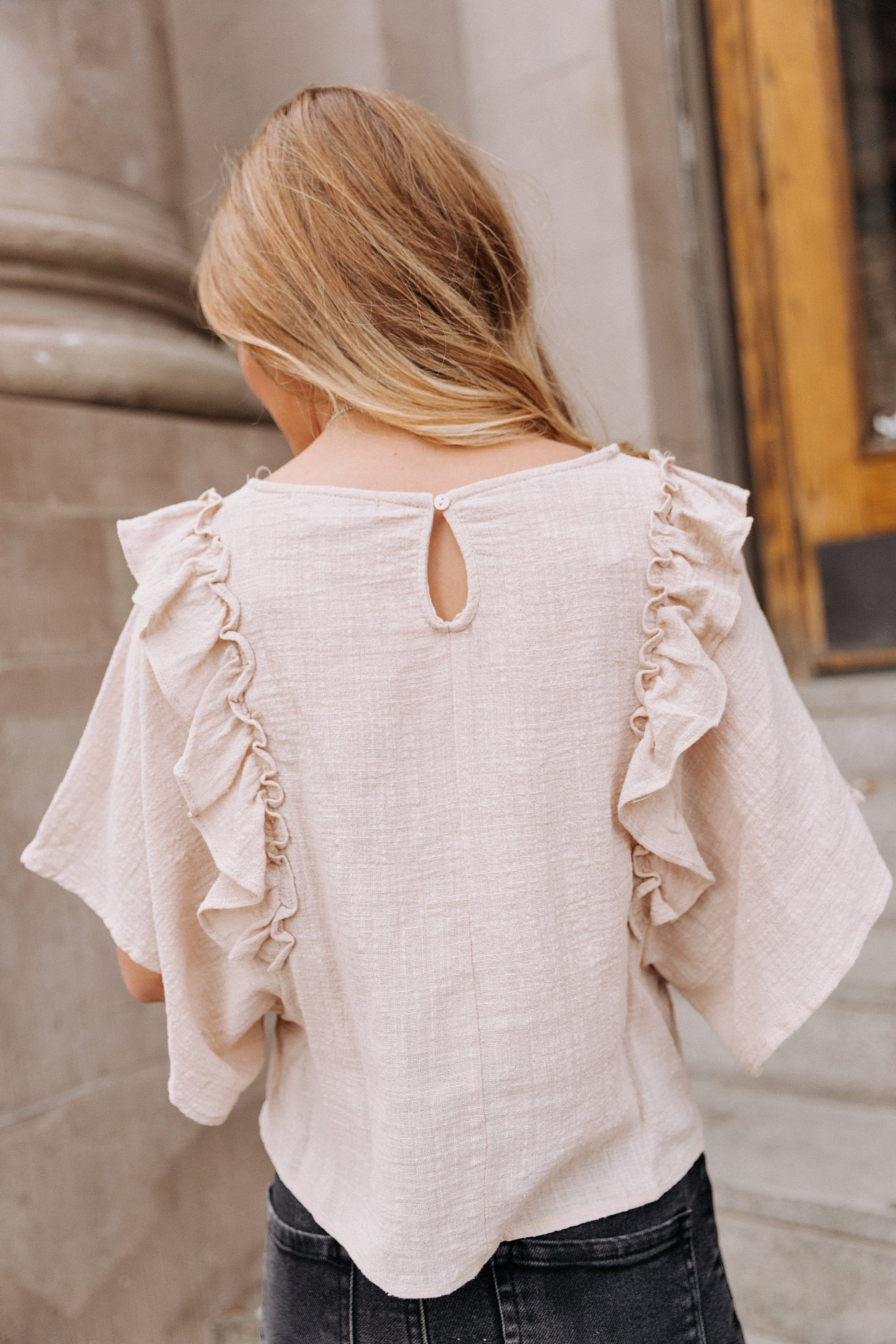 The Tierra Ruffle Top in Sand