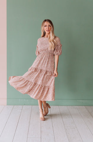 The Hartwick Velvet Pleated Midi Dress in Dusty Blush and Stone Blue