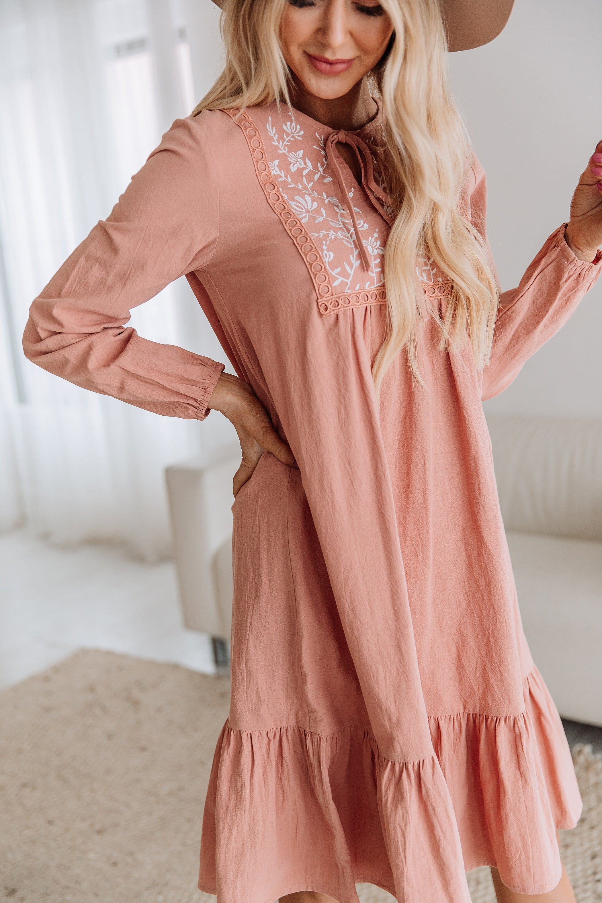 The Ashlynn Embroidered Dress in Rose