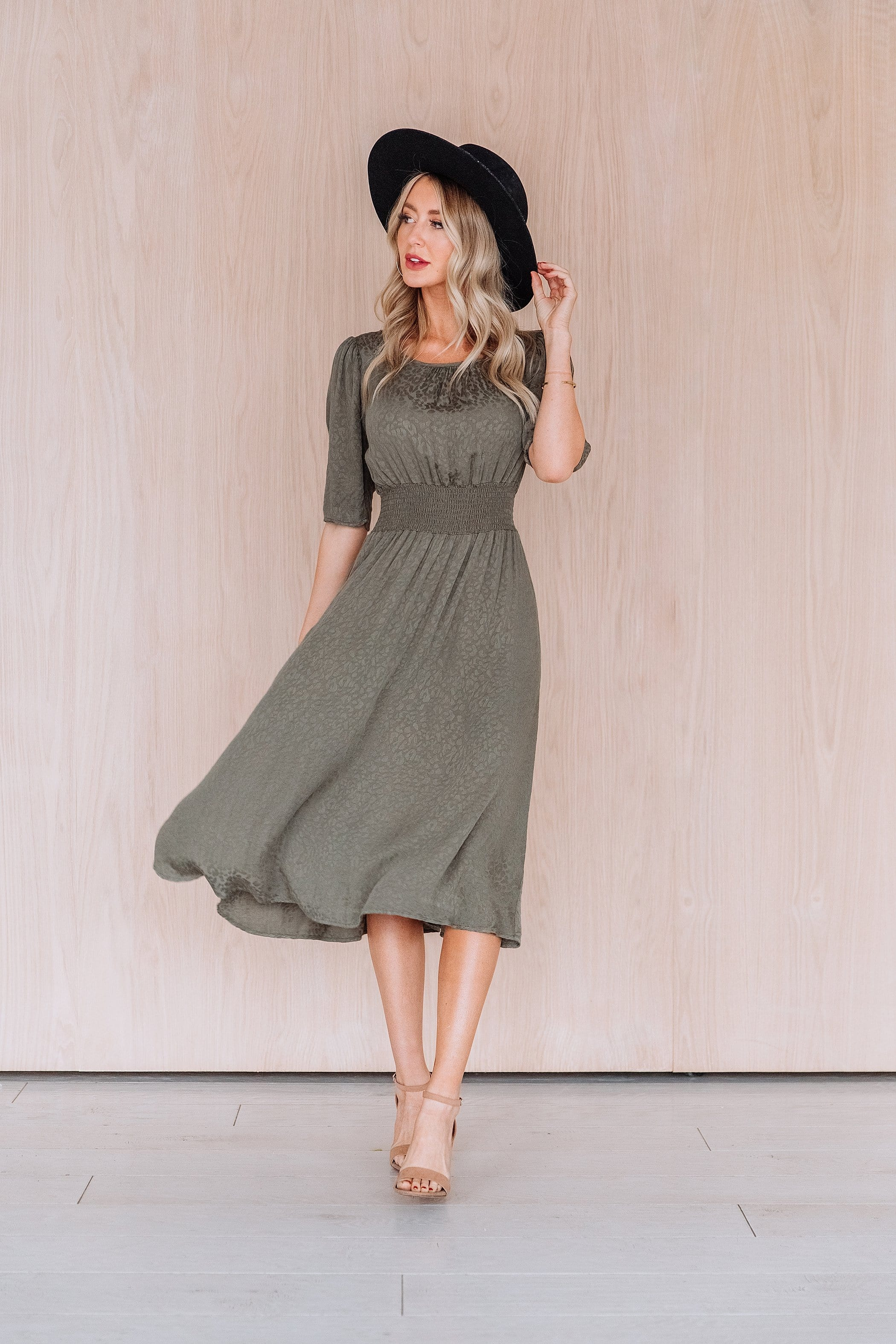 The Finch Midi Dress in Olive