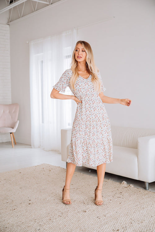 The Brookdale Floral Dress in Ivory