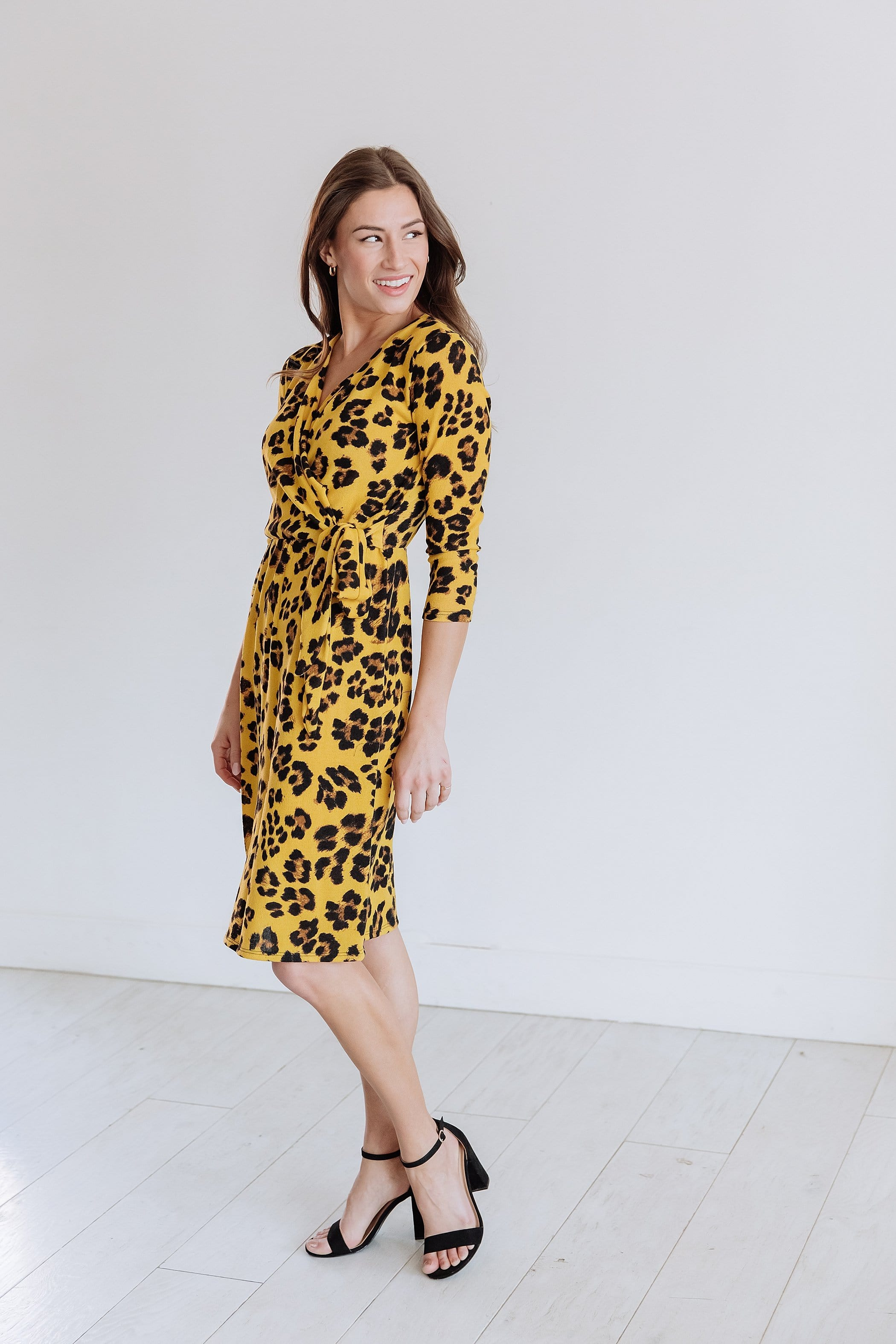 The Salma Midi Dress in Leopard Print