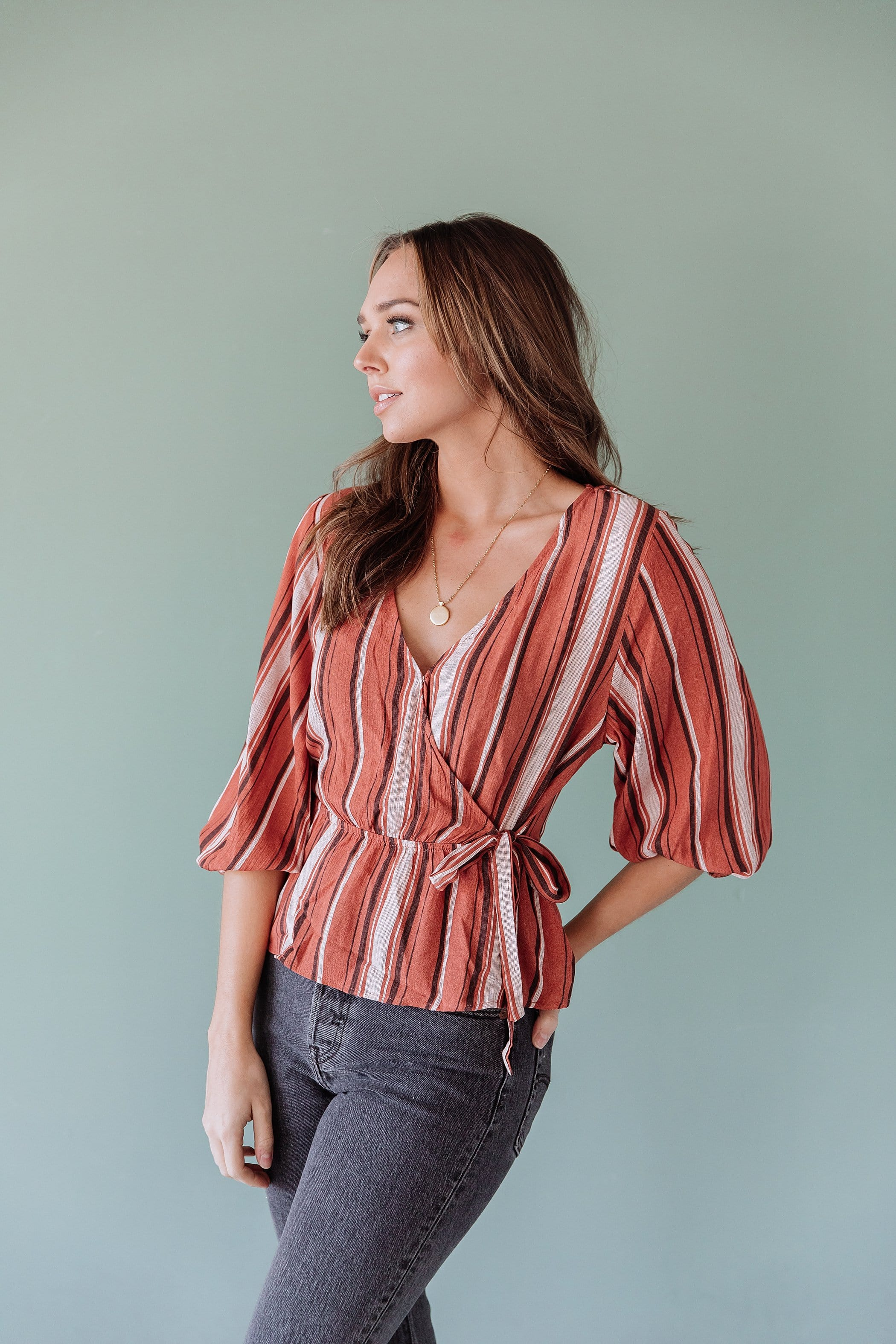 The Shantel Striped Peplum Top in Rust