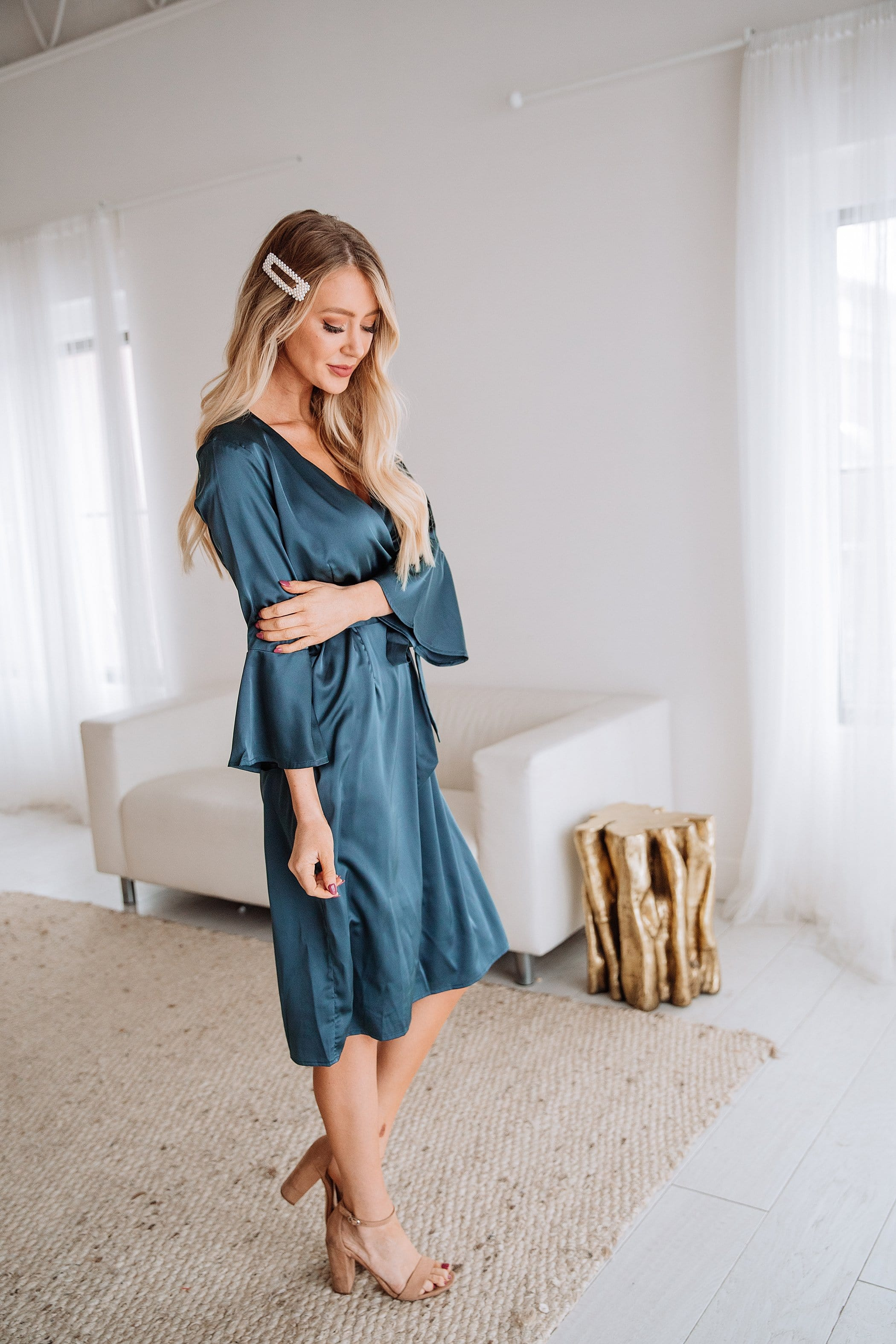 The Reign Satin Dress in Stone Blue
