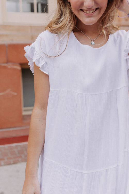 The Julia Ruffle Tiered Dress in White